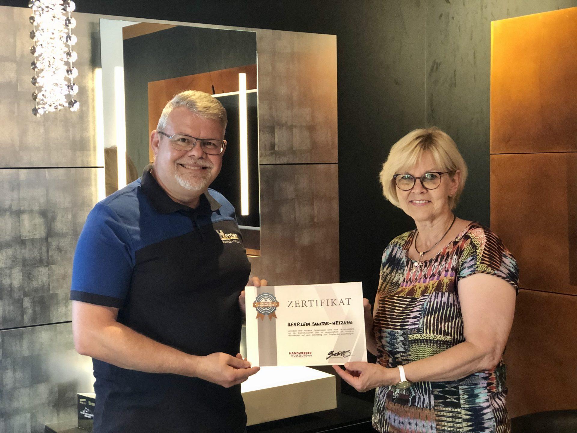 Auszeichnung zum Premium Handwerker bei Handwerker Würzburg